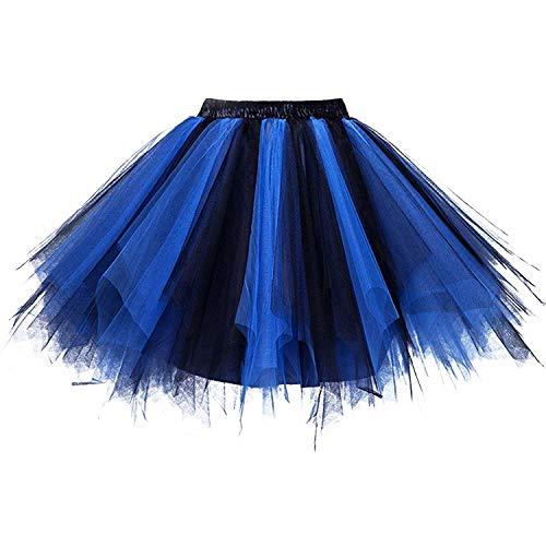 DresseverBrand Damen Petticoat 50er Rockabilly Jahre Retro Tutu Ballet Tüllrock Cosplay Crinoline schwarz-blau Large/X-Large (Für Tutu Blau Erwachsene)