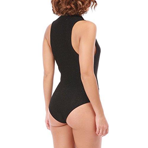 La Modeuse Body Cache Coeur Brillant Femme Noir