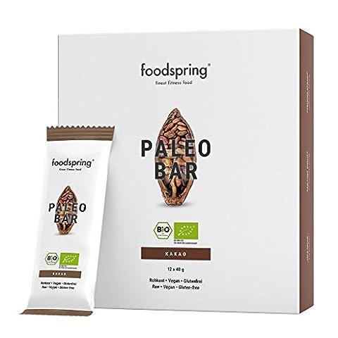 foodspring Bio Paleo Bar, Kakao, 12er Paket (12x40g)