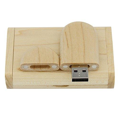 Yaxiny, chiavetta usb 2.0 in legno d'acero, con scatola di legno 2.0 2.0/8gb