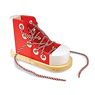 Melissa & Doug 13018 Deluxe Wood Lacing Sneaker Learn to Tie a Shoe Educational Toy