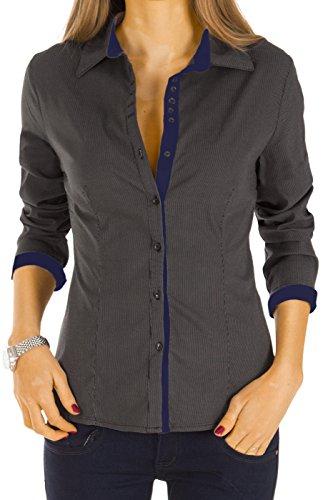 Bestyledberlin Damen Blusen gestreift, elegante Stretch Tops, Oberteile langarm t27z 40/L schwarz-blau (Stretch-blazer Knopf-manschette -)