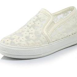 ShangYi Scarpe Donna - Sneakers alla moda - Casual - A punta - Basso - Finta pelle - Nero / Grigio / Animal ,...