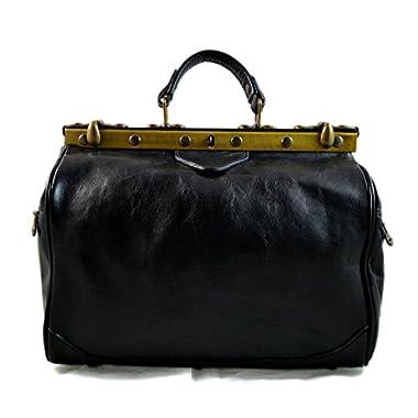 Ladies doctor bag womens leather handbag doctor bag handheld shoulder bag medical purse black made in Italy