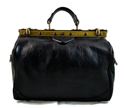 - 41SP7VnmUZL - Ladies doctor bag womens leather handbag doctor bag handheld shoulder bag medical purse black made in Italy