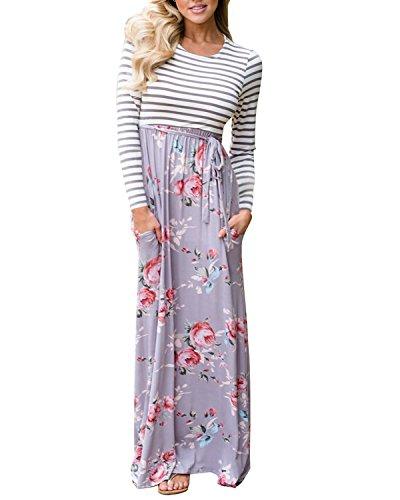 Cnfio Damen Maxikleid Swing Boho Langarm Blumen Streifen High Waist Maxi Kleider grau L