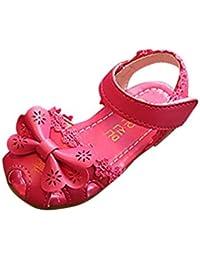 Zapatos bebé niña verano ❤️ Amlaiworld Sandalias florales de niñas Sneaker calzado Zapatos de vestir Casual Cordón Zapatos de princesa (Rosa caliente, 22)