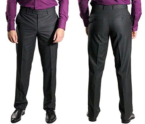 Muga classica da uomo piatto anteriore Pantaloni filo Anthracite