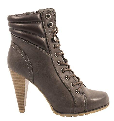 Elara Damen Stiefeletten | Stiefel Trichterabsatz | Lederoptik Grau 2