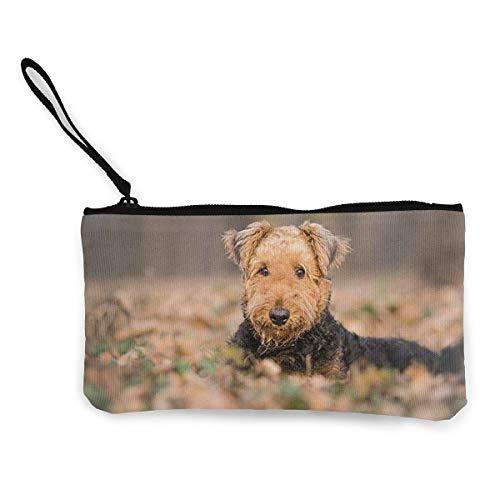 Bargeld Geldbörse, Handy Super Große Kapazität Canvas Tasche Mit Griff, Personalisierte Kosmetische Federmäppchen/Stift Box/Aufbewahrungstasche-Airedale Terrier Hund -