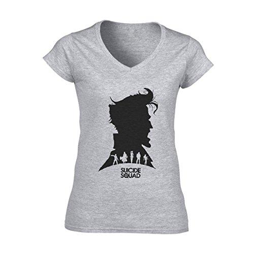 Suicide Squad Red White Art Black Head Edition Damen V-Neck T-Shirt Grau