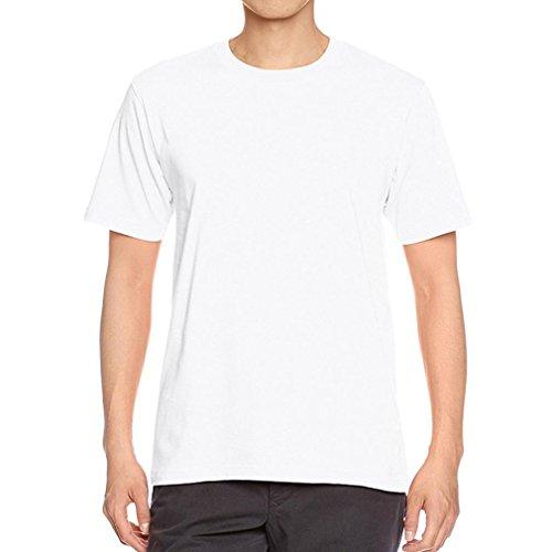 Oyedens Mann Jungen Normallack Kontrahierte Kurzes HüLsen Baumwoll T Shirt Weiß