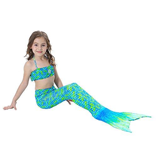 Helle Erwachsene Für Kostüme Regenbogen (Alxcio Mädchen Meerjungfrauen Bikini Tankini Kostüm Meerjungfrauenschwanz zum Schwimmen Meerjungfrau Meerjungfrauenschwanz + Schwanzflosse + Niedlich Muschelbikini Grünes)