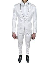 Abito completo uomo sartoriale bianco tessuto raso damasco floreale slim  fit vestito smoking elegante b5181739cd2