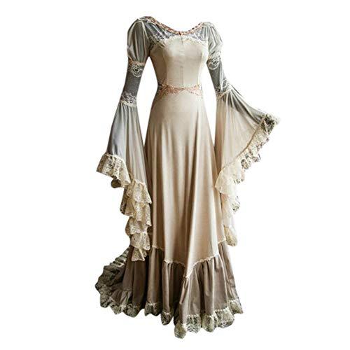 NPRADLA 2018 Cosplay Kleider Damen Herbst Festlich Langarm Elegant Schrägkragen Mittelalterlichen Kleid Bodenlangen Kleid(S/34,Weiß)