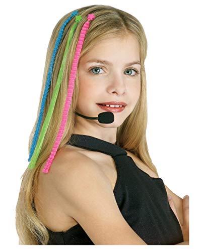 Horror-Shop Pop Diva Kostümzubehör 4-TLG. mit Headset & bunten ()
