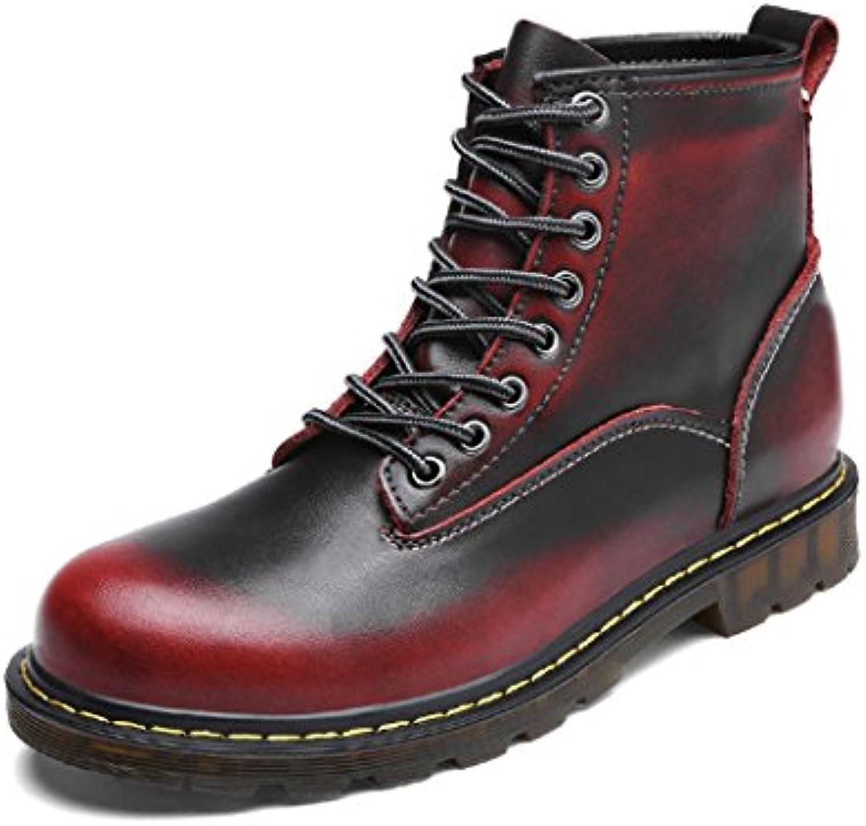 ZQ@QXLos hombres de cuero de ocio al aire libre de damas botas botas Martin,vino rojo terciopelo plus,38