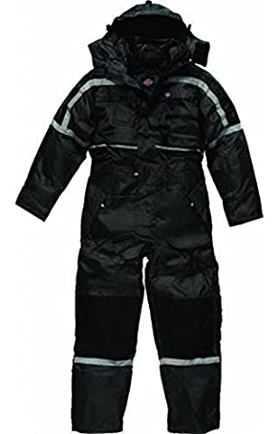 Dickies Mens Padded Heavy Duty Coverall Overall Hard Wearing With Hood Quilted Lining Leg Zip Warm Multi Chest Pockets Back Pockets Tunnel Suit All Round Weather Protection Reflective piping detail Black WP15000 Medium (40-42'' Chest)