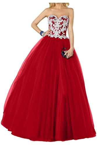 Promgirl House Damen Prinzessin A-Linie Pailletten Abendkleider Ballkleider Tanzenkleider Hochzeitskleider Lang Rot