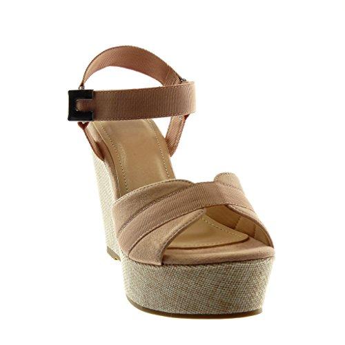 Angkorly Scarpe Moda Sandali Mules bi-Materiale Zeppe con Cinturino Alla Caviglia Donna Fibbia Tacco Zeppa Piattaforma 11.5 cm Rosa