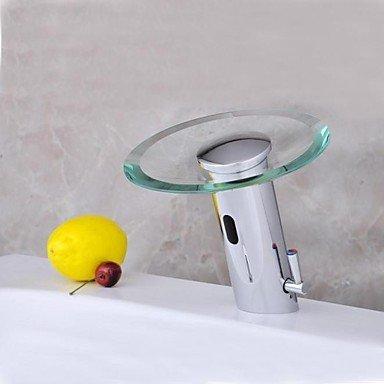 Furesnts moderne Home Küche und Bad Armatur aus Messing verchromt Glas Wasserfall Sensor aktiviert Waschbecken Armaturen,(Standard G 3/8 Universalschlauch - Wasserhahn Sensor Küche