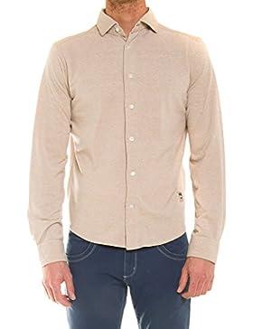 Carrera Jeans - Camisa 822A0075X para hombre, estilo clásico, color liso, punto pique, ajuste regular, manga larga