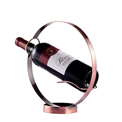 AGZ Kreative runde Metall eine einzelne Flasche Wein Rack Tabletop Wein Inhaber Regale um irgendeinen Raum zu (Gold, Bronze) (Color : Red) -