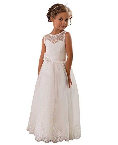 Beyonddress Mädchen Blumenmädchen Kleider Kinderkleid Kommunionkleid Spitze Partykleid Hochzeits Erstkommunion Kleider(Weiß,7-8 jahre)