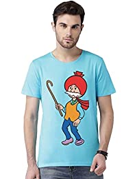 Chacha Choudhary Desi Comic Printed Round Neck Bio Wash Printed T Shirt For Men
