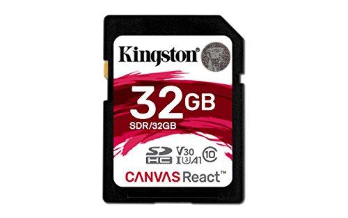 Kingston Canvas React SDR/32GB klasse 10 SD karte, Ideal für Serienaufnahmen und 4K Video - Kingston Microsd Reader