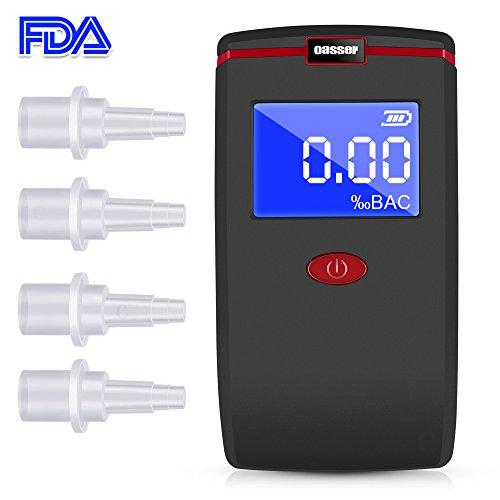 Etilometro Portatile, Oasser Alcool Tester Digitale T1 con 4 Boccagli Schermo LCD Sensore Semiconduttore