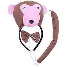 BESTOYARD Diadema de Mono con Oreja de Mono Cola Corbata Disfraz para Niños Adultos para Pascua