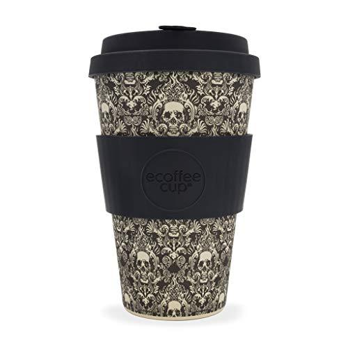 Tasse Ecoffee avec motif tête de mort-400 ml.Tasse à café en bambou réutilisable.