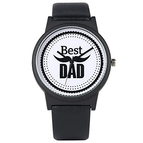 Meaningful Best Dad Literal Zifferblatt Armbanduhr Klassische Quarz-Analog-Armbanduhr, bequem, schwarzes PU-Lederarmband