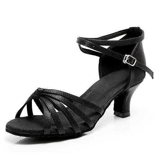 VASHCAME-Zapatos de Baile Latino de Tacón Alto/Medio para Mujer Lazo Negro 41 (Tacón-5cm)