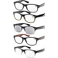 5b191d4b224 Eyekepper 5-Pack Spring Hinges 80 s Reading Glasses Includes Sunshine  Readers +1.50