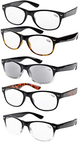 5-pack primavera cerniere anni 80 occhiali da lettura includono sun lettori +2.00