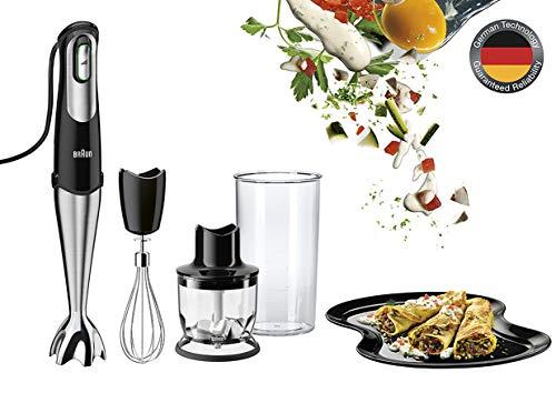 Braun Minipimer 7 MQ725 Omelette Batidora de Mano Eléctrica, Tecnología SmartSpeed, Campana Anti-salpicaduras, Minipicadora de 350 ml y Varillas, 750 W, Negro y Plata