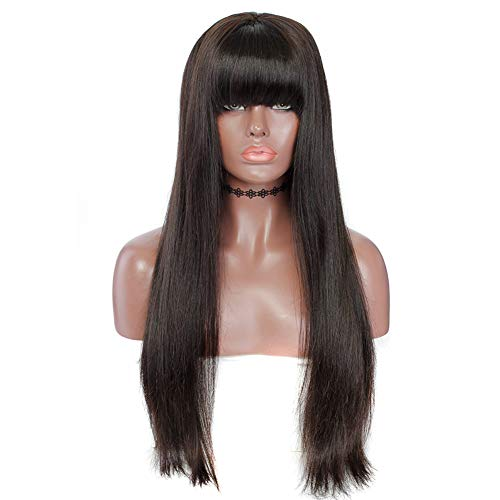 Layla Beauty Store Spitze Vorne Perücken Mit Pony Brasilianische Reine Gerade Menschliches Haar Perücke Für Frauen Natürliche Farbe,Black,22inch