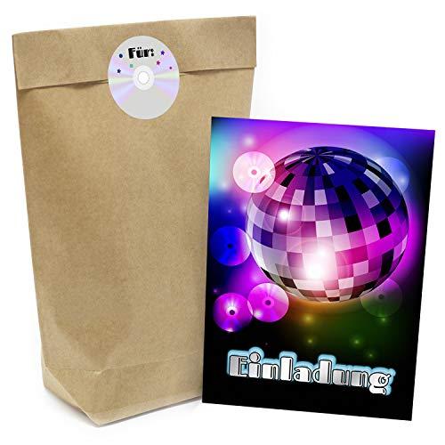Praktisches Kindergeburtstag Set mit 16 Geschenktüten (Party-Tüten), Einladungskarten und Aufklebern Motiv: Party/Disko