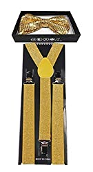 4everStore Unisexs Sequin Bow tie & Suspender Sets (Gold)