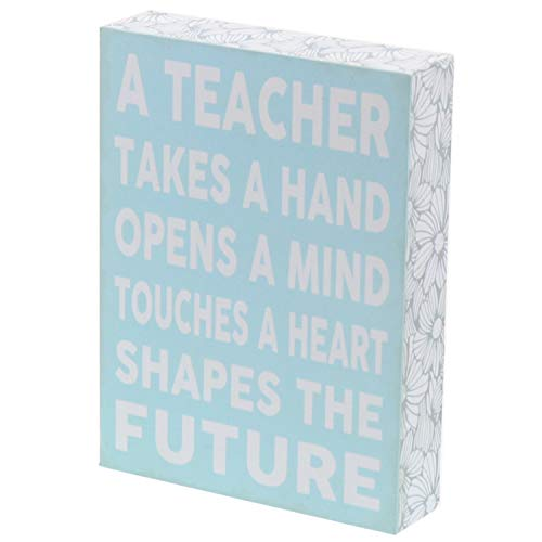 Barnyard Designs Holzschild A Teacher Takes a Hand Opens A Mind Touches A Heart Box, dekoratives Holzschild, Dekoration, Lehrer, Appreciation, Geschenk, 20,3 x 15,2 cm