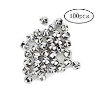 bulingbuling 100 Pcs Christmas Bell Mini Metal Jingle Bells for Christmas Decoration Jewellery Making Craft Decorative Accessories(6mm Silver)