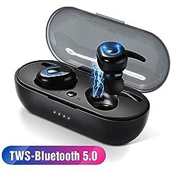 Jackcer Casque Bluetooth sans Fil Bluetooth 5.0 Écouteurs Écouteurs TWS Mini Écouteurs à Suppression de Bruit Casque de Course à Pied avec boîte de Chargement,1