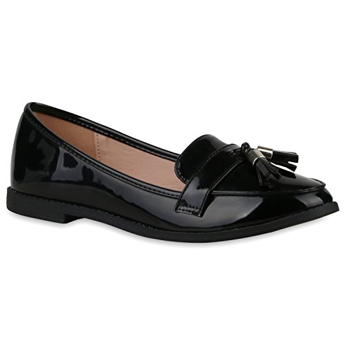 Damen Lack Slipper Quasten Tassel Loafers Business Schuhe Schwarz