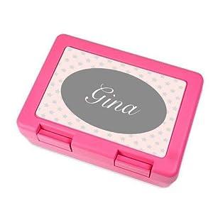 Brotdose mit Name für Mädchen in Pink