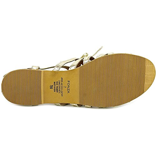 Steve Madden Fonza Offener Spitze Leder Slingback Sandale Gold