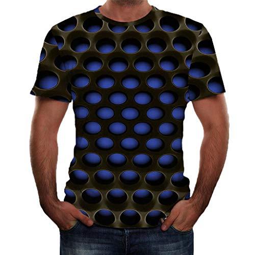 3D Muster Shirt Kurze Ärmel Grafik Muskelshirt Spaß Motiv Tops Oversize Kurzarmshirt Sport Oberteile Print Unisex Basic Hemd Casual Sommer Lässige (L2, Blau) ()
