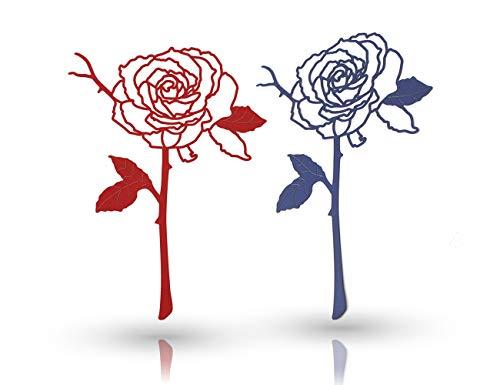 Amupper - Segnalibri in metallo a forma di rosa rossa e blu, in acciaio inox, ideali come regalo per fidanzata, festa di compleanno, ufficio, scuola, confezione da 2 Rosa blu e rossa.