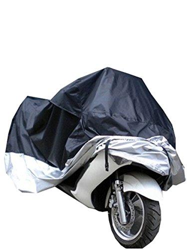 Coprimoto, OSAN Telo Copri Moto Motociclo Impermeabile Antipolvere Anti UV Traspirante Universale 265x105x125cm Nera&Argenta